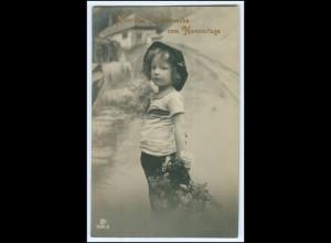 Y1950/ Namenstag Mädchen mit Blumen Foto AK 1911