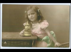 Y2290/ Mädchen mit Spieluhr Foto AK 1908