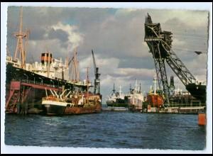 Y2292/ Hamburg Hafen Frachter im Dock, Werft AK ca.1965
