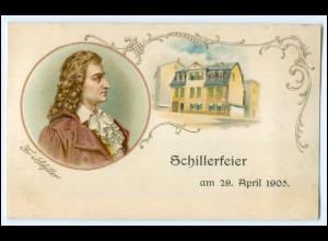 N7831/ Friedrich Schiller Schillerfeier 1905 Litho Programmkarte