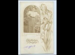 Y2475/ Neujahr Fotomontage Foto AK 1907