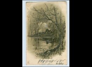 Y2480/ Mondschein AK Litho Silberdruck 1902