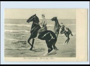 Y2466/ Max Liebermann AK Pferde am Meer Moderne Maler-Postkarte