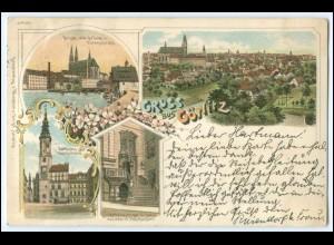 N7940/ Gruß aus Görlitz schöne Litho Ak 1897