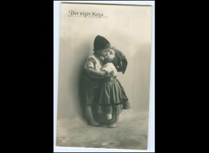 Y2484/ Der erste Kuss Kinder schöne Foto AK 1912 Küssen