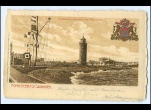 N7968/ Cuxhaven Signalstation Leuchtturm Litho AK Wappen 1908