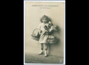 Y2482/ Namenstag Mädchen mit Blumen Foto AK Rotophot 1912