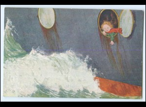 Y2595/ Kinder im Schiff Künstler AK H.S.B. ca.1912