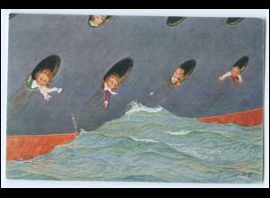 Y2594/ Kinder im Schiff Künstler AK H.S.B. ca.1912
