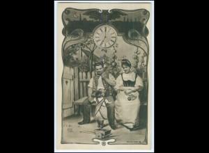 N8605/ Jugendstil Fotomontage Foto AK Eltern und Kind Uhr ca.1900