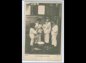Y2609/ Kinder in Uniform Foto AK H. Manuel, Paris Kartoffeln schälen ca.1905