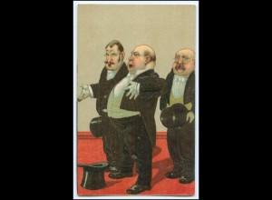 Y2506/ Alte Männer mit Zylinder Litho Prägedruck Humor AK ca.1910