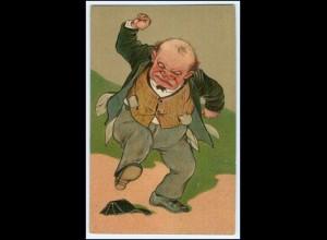 Y2507/ Mann ägert sich, Portmonee ist leer Litho Prägedruck AK Humor ca.1910