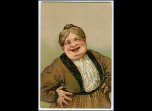 Y2508/ Alte dicke Frau lacht Litho Prägedruck Humor AK ca.1910