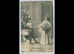 N8267/ Weihnachten Kinder Engel Puppe Tannenbaum Foto AK ca.1905
