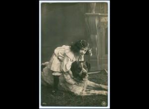 Y5423/ Mädchen mit Hund schöne NPG Foto AK 1907