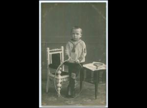 Y2630/ Junge mit Hula-Hoop Reif Foto AK ca.1910