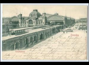N8243/ Dresden Hauptbahnhof Straßenbahn AK 1902