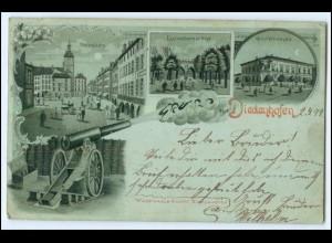 N8483/ Gruß aus Diedenhofen Litho Mondschein AK 1899