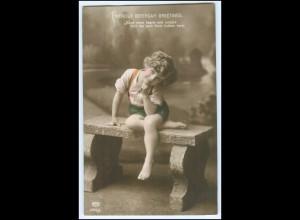 Y2626/ Geburtstag Birthday Mädchen Foto AK 1914