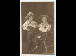 Y2569/ Karneval Fasching Kinder Jungen verkleidet Foto AK ca.1925