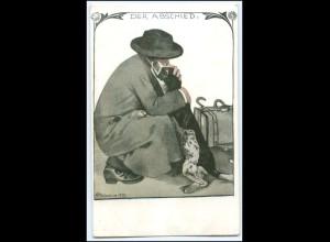 """N8416/ """"Jugend"""" Postkarte AK Abschied vom Hund Künstler AK ca.1910"""
