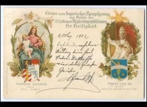 Y2568/ Papst Leo XIII. Gruß vom bayer. Rompilgerzug 1902 Litho AK