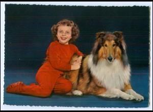 Y2690/ Mädchen mit Hund Collie schöne AK ca.1965