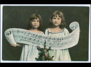 """Y2720/ Weihnachten Mädchen """"O, du fröhliche ..."""" 1907 AK"""
