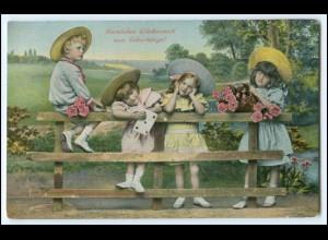Y2714/ Geburtstag hübsche Mädchen mit Strohhut Kinder AK 1914