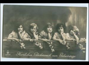 Y2713/ Geburtstag hübsche Mädchen Kinder Foto AK 1913