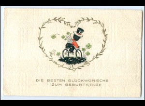 Y2705/ Geburtstag Schornsteinfeger mit Fahrrad AK 1941