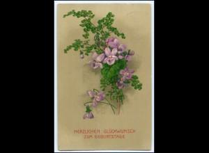 Y2707/ Geburtstag Blumen Veilchen Litho Prägedruck AK 1915