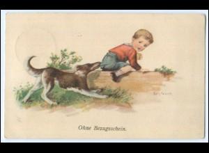 Y2716/ Elly Frank AK Junge und Hund AK 1913