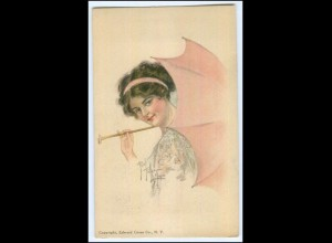 N9007/ American Girl No. 29 AK Fidler Munyon Frau mit Regenschirm 1913