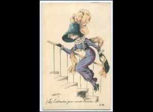 N9006/ Les Entravees Frau mit Hut schöne Künstler Jugendstil AK 1910