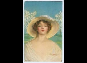 N9405/ Stanlaws Künstler AK hübsche Frau mit Hut ca.1912