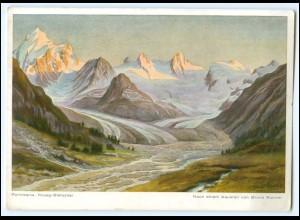 T127/ Pontresina Rosegg-Gletscher Künstler AK Buno Richter Kt. Graubünden