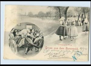 N9461-032./ Gruß aus dem Spreewald Kirchgang in Burg AK 1898