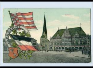 N9520/ Bremen Rathaus Straßenbahn Fahnen Wappen AK 1910
