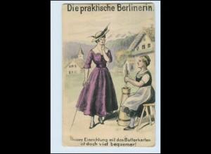 Y3050/ Die praktische Berlinerin Humor AK Butterkarten ca.1915