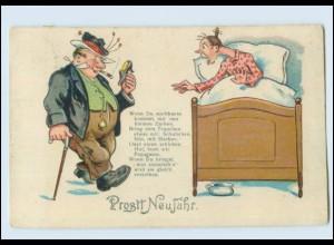 Y3046/ Betrunkener Mann kommt Heim Humor Neujahr AK 1930