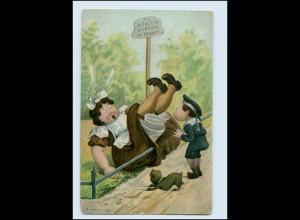 Y3045/ Dicke Frau stürzt Humor AK 1907