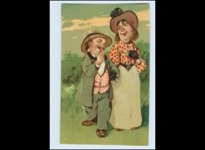 Y3042/ Kleiner Mann - große Frau schöne Humor Litho AK ca.1910