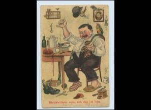 Y3058/ Strohwitwer zu Hause Nähen, Stopfen, Kaffeemühle, Humor AK 1931