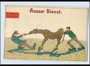 Y3057/ Roßschlachter Pferd Litho Humor AK ca.1900