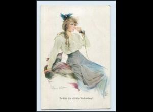 Y3059/ Frau telefoniert Telefon Künstler AK Hans Leu 1914 Primus