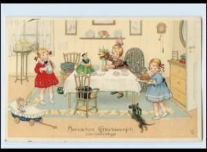N9573/ Geburtstag Kinder mit Puppen Dackel Meissner & Buch Litho AK sign: LD