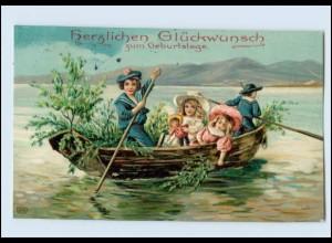 Y3188/ Geburtstag Kinder im Ruderboot mit Puppe Litho Präge AK 1911