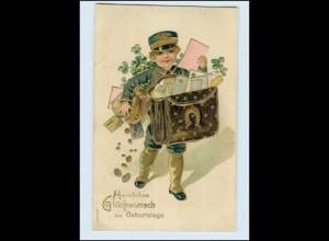 N9570/ Geburtstag Kind als Postbote Briefträger Litho Präge AK 1910